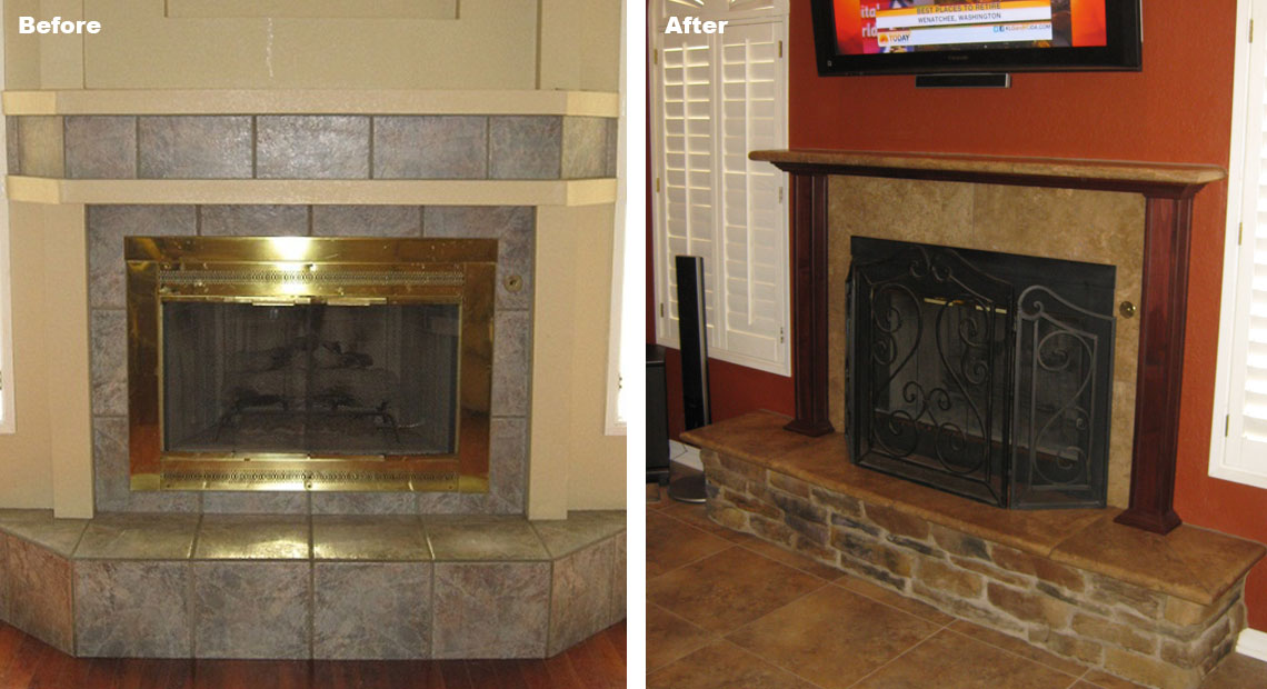 BHB Before and After Fireplace Remodel